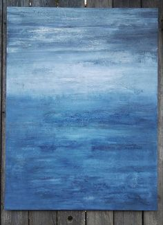 Abstract Ocean Painting 30 x 40 Large Indigo Minimalist