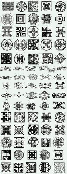 Variety of traditional folk pattern vector material (a) - vector - the Vision China bar Chinese Design, Japanese Design, Japanese Art, Chinese Patterns, Japanese Patterns, Oriental Pattern, Oriental Design, Chinese Ornament, Asian Quilts