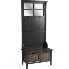 """Alcott Hall Tree - Rubbed Black. Pine wood, engineered wood, plywood, rattan, glass,  32""""W x 17.50""""D x 73""""H, Rubbed black, Assembly Required"""