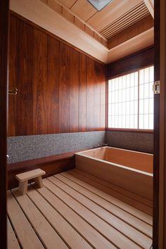 Asian style bathroom japanese style soaking tub wood flooring