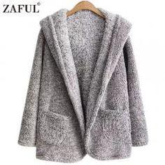 b98ff0aaca Zaful 2017 Women Faux Fur Coat Warm Winter Spring Hooded One Button Fleece  Coats Long Sleeve One Size Long Jacket Streetwear