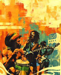 *Bob Marley's Rastaman Vibration* Fantastic pictures and videos of Bob Marley… Jamaican Art, Jamaican Music, Rastafarian Culture, Bob Marley Art, Jamaica Reggae, Jah Rastafari, Reggae Style, Reggae Artists, Caribbean Culture