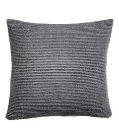 Gray. Cushion cover in a soft, textured knit with wool content. Woven cotton fabric at back. Concealed zip.