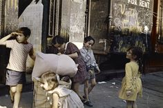"kecobe: "" New York (Children Playing with Laundry Cart) Helen Levitt (American; 1972 Dye transfer print © 2016 The Estate of Helen Levitt "" Walker Evans, New York City, New York Street, Color Photography, Vintage Photography, Timeless Photography, Film Photography, Memories Photography, Minimalist Photography"