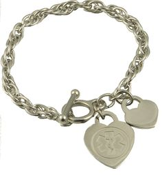 You will enjoy wearing this all stainless steel medical ID charm bracelet. This bracelet features a rope twist single chain which is not only stylish, but durable as well. You can choose from either a trigger clasp or a toggle clasp, both are stainless steel. $39.99 http://www.stylishmedicalid.com/Medical-ID-Bracelets/Stainless-Steel/Charm-Style/Stainless-Rope www.stylishmedicalid.com