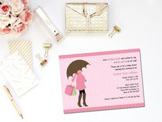 PRINTABLE baby girl shower invitation - cute invitation idea for a tickled pink shower or girl baby sprinkle shower!