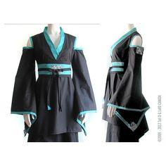 Gothic Lolita Warrior Geisha Kimono. Loli Dress. Unique Kimono Dress... ($256) ❤ liked on Polyvore featuring dresses, cosplay, gothic, kimono, black gothic dress, black flare dress, black v neck cocktail dress, short sleeve dress and v neck cocktail dress