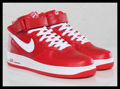 Red and White Mid Air Force Ones