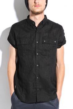 comune - men's douglas short sleeve safari shirt (black)
