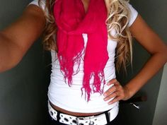 love the hair, scarf, and shirt
