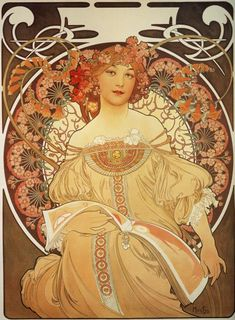"""Alphonse Mucha, """"Rêverie"""" 1897. Like Zodiac, this lithograph was originally designed to serve as the 1898 Champenois company calendar. However, its immediate popularity led to its swift publication by the magazine La Plume as a decorative panel with the title Reverie (daydream). French Art Nouveau"""