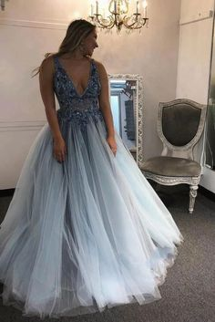 Deep V neck Blue Beaded Flower Prom Dress, Plus Size Evening Dress T1825 Pageant Dresses, Formal Dresses, Senior Prom Dresses, Prom Outfits, Prom Party Dresses, Formal Prom, Quinceanera Dresses, Wedding Dresses, Evening Dresses Plus Size