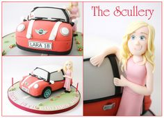 With birthday girl Topper Mini Cooper Cake, Car Cakes, Novelty Cakes, Disney Cars, Girl Birthday, Cake Decorating, Wedding Decorations, Decor Ideas, Shapes