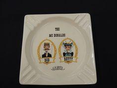 VTG Ceramic Souvenir Ashtray Personalized Bob Betty McDonald Hand Painted Square