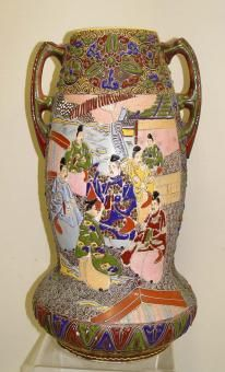 Japanese Moriage Satsuma Bulbous Double Handle Pottery Vase Meji Era Samurai Geisha Girl Tea Ceremony