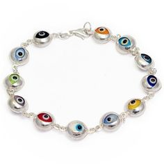 Evil Eye Bracelet Sterling Silver and Colorful Italian Murano Glass Beads Lucky Charms USA. $39.95. Handmade Solid .925 Sterling Silver. Fast reliable shipping. Great and meaningful gift idea. Available in variety of colors. For good luck and protection from the Evil Eye