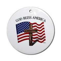 God Bless American With US Flag and Rugged Cross Ornament (Round)    •   This design is available on t-shirts, hats, mugs, buttons, key chains and much more   •   Please check out our others designs at: www.cafepress.com/TsForJesus