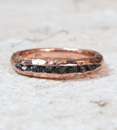Raw Black Diamond Ring | Edgy and elegant, this hand-hammered ring is as attention-grab... | Bracelets