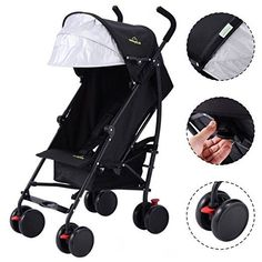 Premium Baby Umbrella Strollers For Lightweight Use, for Infants Toddlers Kids Travel, with Extended Sun Canopy Hood to Add More Protection, Comes with Storage Basket - Black Orbit Baby, Best Baby Prams, Umbrella Stroller, Sun Canopy, Travel With Kids, Storage Baskets, Skateboard, Baby Strollers, Children