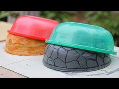 Casting Cement pots from plastic pots Concrete Crafts, Concrete Bricks, Concrete Garden, Diy Cement Planters, Cement Flower Pots, Cement Design, Concrete Casting, Concrete Sculpture, Papercrete