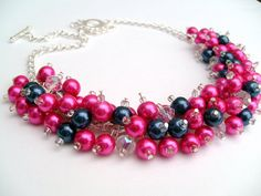Hot Pink and Navy Blue Beaded Necklace, Pink Bridesmaid Jewelry, Cluster Necklace, Chunky Necklace, Bridesmaid Gift, Bridesmaid Necklace on Etsy, $24.00
