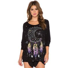 Lauren Moshi Kayla Large Moon Dreamcatcher Oversized Cape Top Tops ($121) ❤ liked on Polyvore featuring tops, graphic tees, oversized tops, graphic tops, lauren moshi and jersey tops