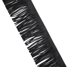 5-7/8 Inch Leather Tassel Fringe Lace Trimming Double sided Leather In Black