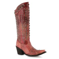 Corral Women's Stud Snip Toe Fashion Western Boots, distressed red