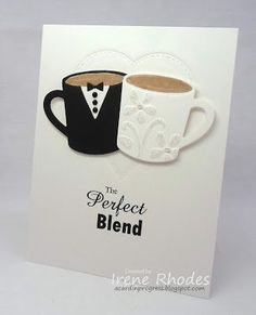 card wedding cup cups me and mrs - bride groom clothes - MFT hot coca cups Die-n. card wedding cup cups me and mrs - bride groom clothes - MFT hot coca cups Die-namics The perfect blend STEP-. Wedding Cards Handmade, Wedding Gifts, Card Wedding, Wedding Stationery, Wedding Invitations, Love Cards, Diy Cards, Diy Wedding Programs, Wedding Cups