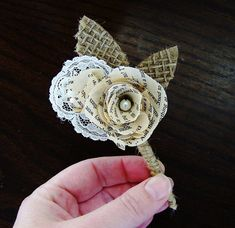 Book Page Boutonniere -Book Page Flower -Vintage Paper Boutineer -Paper Rose -Eco Wedding-MAGAZINE FEATURED