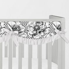 Order handmade black and white floral crib rail cover to keep your crib — and baby's mouth — safe and sound. Our modern, unique, durable, and affordable rail covers are safe, piping-free alternatives to crib bumpers. Crib Rail Guard, Crib Rail Cover, Monochrome Nursery, Nursery Neutral, Black White Nursery, Neverland Nursery, Nursing Pillow Cover, Boppy Cover