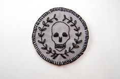 Mors Vincit Omnia  Hand Embroidered 2.5 Skull and by SomeRabbits, $22.00