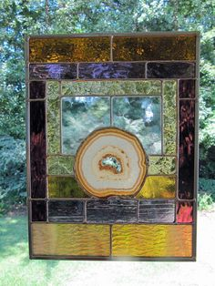 Cathedral Glass - Large Natural Agate w/Purple and Amber Glass:  Stained Glass Panel