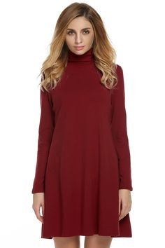 High Neck Long Sleeve Solid Shift Pleated Dress