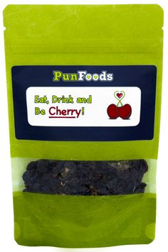 """""""Eat, Drink and Be Cherry"""" Snack Bag Party Favor with Dried Cherries - Perfect for any celebration, special occasion or party - See more PunFoods Snacks and Party Favors at: www.punfoods.com!"""