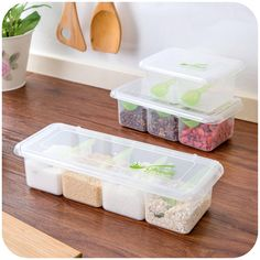 4,50€ - Siamese Kitchen flip transparent multi-compartment seasoning box with spoon spice jar seasoning box - Three trees home supplies stores