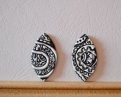 Polymer clay cabochon pair, handmade cabochon, Fimo cabochon ( 143. ) by Beabead on Etsy