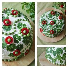 Senni - My first sandwich cake decoration ever. This salmon filled cake is decorated with coriander leaves, tomatoes and peas. Food Design, Sandwich Torte, Sandwich Ideas, Appetizer Recipes, Appetizers, Good Food, Yummy Food, Food Garnishes, Food Decoration