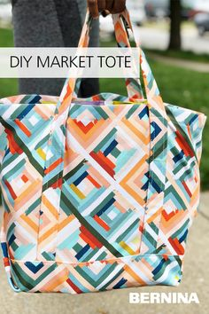 Create a sturdy, stylish, reusable canvas market bag with the free tutorial from #WeAllSew. #sewing #sewingproject #sewingtutorial