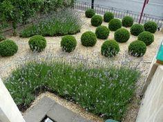 modern stone garden photo taken from above
