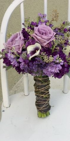 purple lavender earthy bouquet with roses - very similar to what I carried on my wedding day