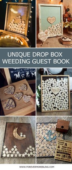 3 Etsy Wedding Guest Book Alternative Personalized Drop box Hearts GuestBook Unique