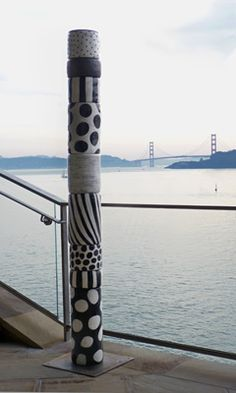 "Black & White ceramic Totem by Sally Russell - great inspiration for pattern work on our wooden totem poles outdoors ("",)"
