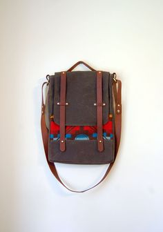The Prickley Mountain Bag // Waxed Canvas Attache with Leather & Geometric Wool