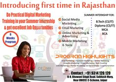 #internship Program in Jaipur. The training programme is delivered by real time industry experts and thus gives trainees a greater understanding of the online market. The programme bridges the gap between traditional academia and industry demands by providing trainees tangible tools and techniques that demonstrates competency in the corporate world.