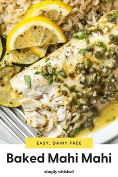 This baked mahi mahi recipe is made in the oven with a simple seasoning and a lemon parsley sauce. It's flavorful, healthy, and easy enough for weeknights. Serve it with your favorite sides for a complete meal. Cooking Mahi Mahi, Baked Mahi Mahi, Seafood Dishes, Seafood Recipes, Pot Roast Recipes, Dinner Recipes, Pesco Vegetarian, Homemade Tartar Sauce, Food To Make