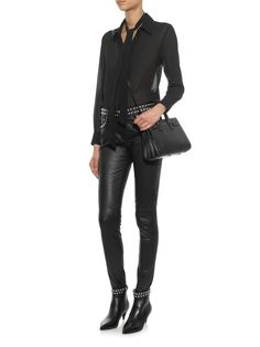 Saint Laurent Studded skinny-leg leather trousers