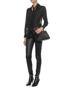 Saint Laurent Studded skinny-leg leather trousers
