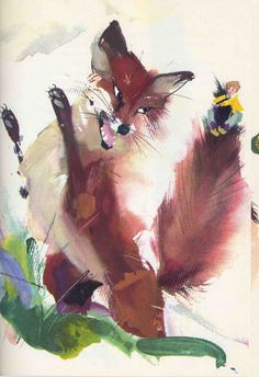 Book illustration by Janusz Grabianski for The Wonderful Adventures of Nils - 1970 Fuchs Illustration, Children's Book Illustration, Book Illustrations, Kids Story Books, Fox Art, Children's Picture Books, Watercolor Techniques, Conte, Art Oil