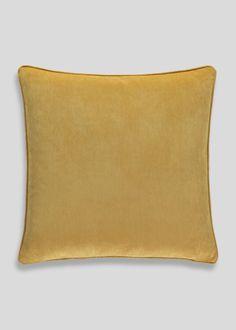 Large velvet cushion in yellow. Dimensions: 58cm x 58cm.